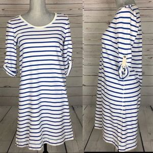 Anthropologie Stripped Cotton knee Length Dress XS